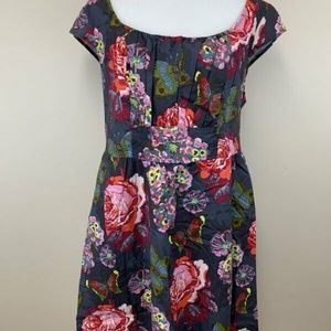 Retrolicious Gray Floral Butterfly Fiona Dress